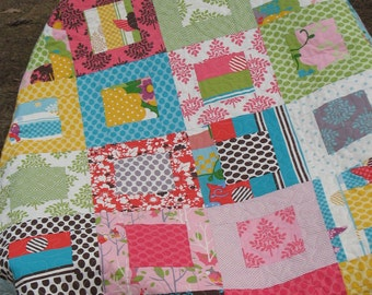 Funky and Colorful Lap or Baby Quilt in MoMo Its a Hoot Fabrics MaDe To OrDeR