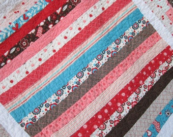 Pink and Aqua Striped Baby Quilt -- Valentines Day