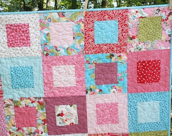 Made-To-order Sophie Lap or Baby Girl Quilt -- pink. green, blue, red -- pattern also available
