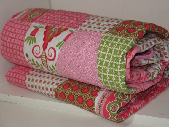 Pink and Green Whimsy Tumbler Lap or Baby Quilt