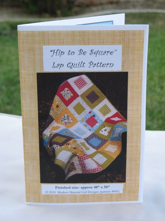 Busy Bee Quilt Designs Hip To Be Square : PATTERN Hip to Be Square Lap or Baby Quilt...uses one layer