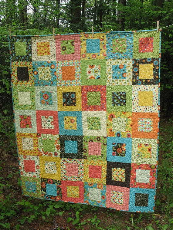 MaDe To OrDeR  --Lap or Baby Quilt Moda Frolic fabrics --pattern also available