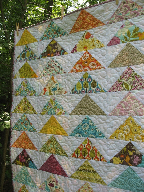 Flying Geese Lap or Baby Quilt in Central Park fabrics -- pattern also available