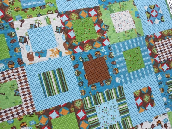 Adorable Hooty Hoot Owl Quilt Baby or Lap Size -- pattern also available