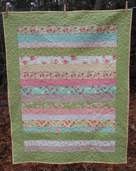 Strawberry Fields Striped Baby Girl Crib Quilt -- pink, blue, green, yellow -- modern vintage