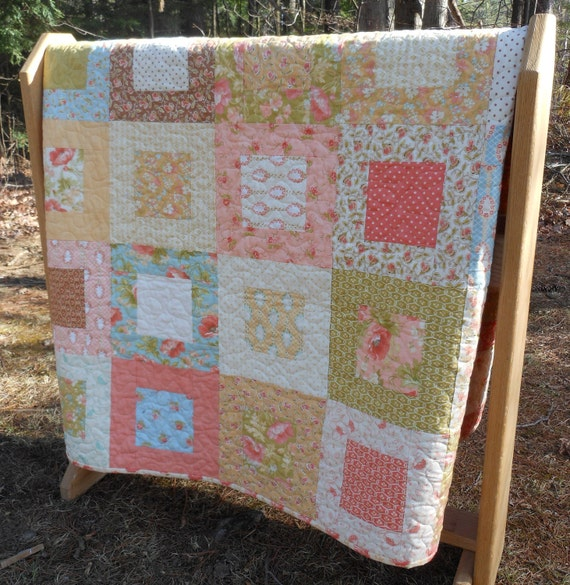 Modern Vintage Lap or Baby Quilt in Moda Fig Tree quilts fabric--pattern also available