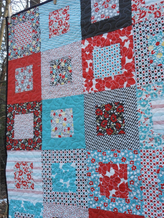 Hello Betty Retro Lap Quilt -red, aqua, brown ---pattern also available