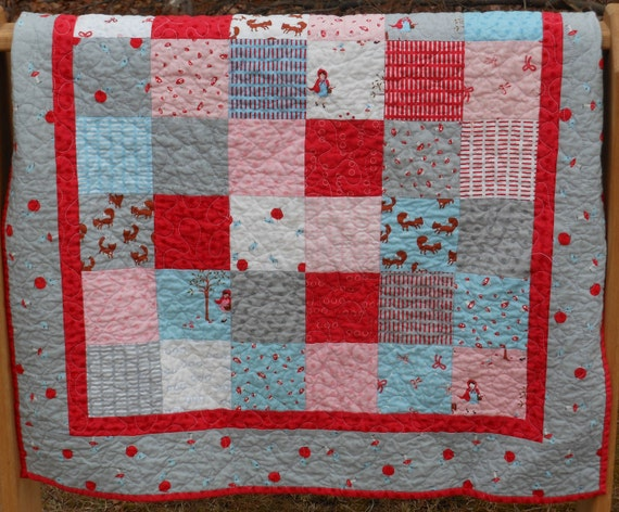 A Walk in the Woods Baby Girl Quilt in Pink, Red, Aqua and Grey