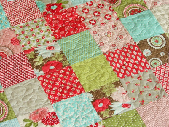 Vintage Modern Red Pink Aqua Lap or Baby Patchwork Quilt
