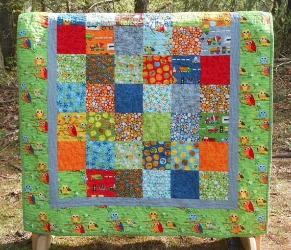 Baby boy quilt in ten little things fabrics owls trucks for Little boy fabric