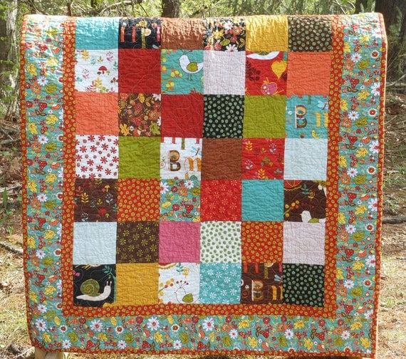 Whimsical Wee Woodland Baby Boy or Girl Quilt -- brown, red, orange, aqua -- animals