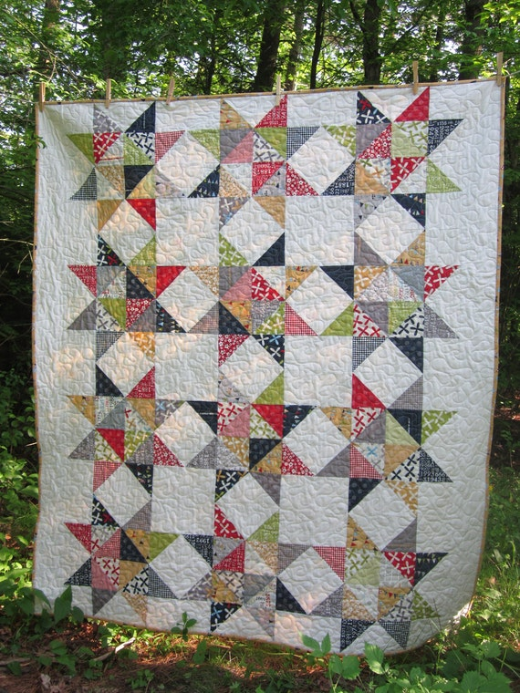 Reunion Stars Quilt Red Blue Gray Green By Modernmaterialgirl