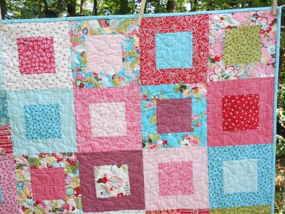 Sophie Lap or Baby Girl Quilt -- pink. green, blue, red -- pattern also available