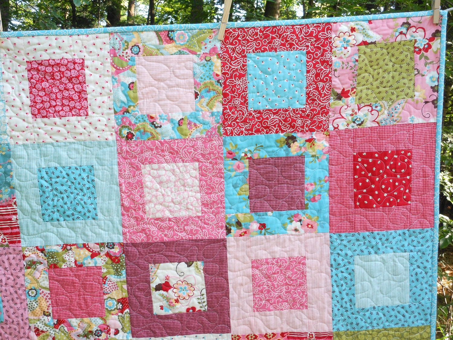Sophie Lap Or Baby Girl Quilt Pink Green Blue Red