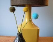 Retro colors bouquet. Turquoise, mustard, chocolate brown wool pom pom flower trio.  Craspedia, woolly heads.