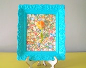 Tulip mosaic framed picture.  Enamel orange flower art.  Tangerine and turquoise.  Ornate frame.  One of a kind original art.  Vintage china