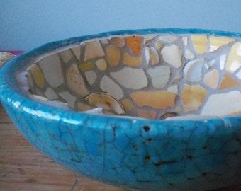 Turquoise mosaic bowl. Beach pottery mosaic. Crackled,crazed bowl. Sea glass. Nautical decor. Centerpiece bowl. Beach cottage. Table decor.