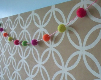 Pom pom garland banner. 10 wool balls.  Rainbow bright colors.  Pennant. Wall hanging, decoration.