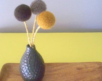 Large Craspedia flower arrangement - Pompom flowers - Neutral flower bouquet - Mustard, taupe - Mid century modern - Brown pom poms