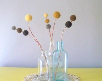 Felt flowers. Craspedia bunch.  Mustard and brown wool pom pom flowers.  Billy buttons, billy balls, woolly heads.  Mod decor.