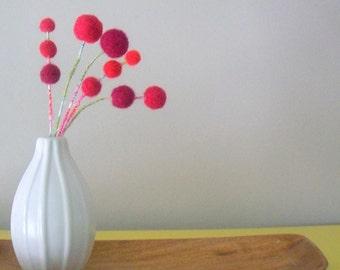 Red Pom Pom Flowers - Wool Felt Balls - Red Berries - Faux Floral Arrangement - Atomic Modern - Fake Flower Bouquet - Round Flower Cherries