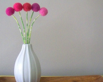 Pink pom pom flowers - Wool felt - Unique centerpiece - Mod modern decor - Girls room - Fuchsia, hot pink, bubblegum pink - Cherry blossoms