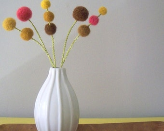 Felt flowers. Yarn Craspedia bunch.  Mustard, pink, and brown wool pom pom flowers.  Billy buttons, billy balls, woolly heads.  Mod decor.