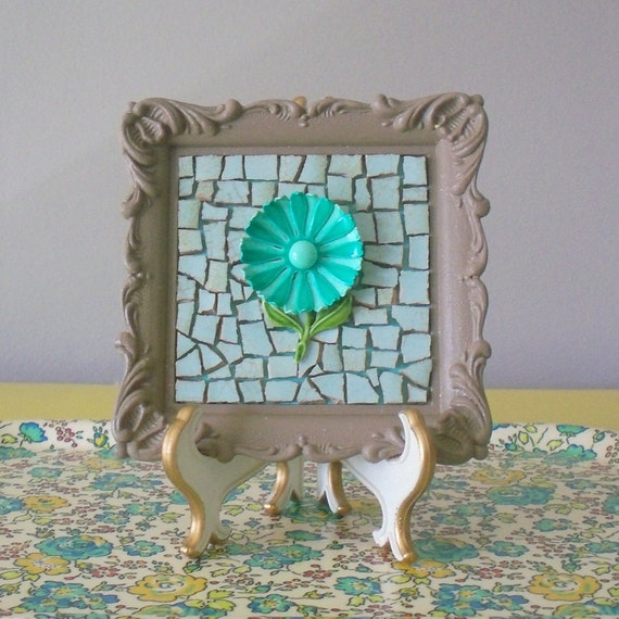 Mosaic art. Teal turquoise metal enamel repurposed brooch.  Upcycled small wall picture.  Taupe ornate frame.