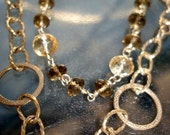 Gemstone Necklace, Gold Double Drop Strand with Whiskey Quartz and Citrine Gemstones, Wire Wrapped, 30 inch length