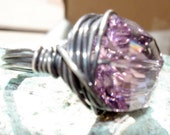 Chunky Big Ring, Light Amethyst Crystal in Oxidized Sterling Silver, Size 8, Bling Jewelry
