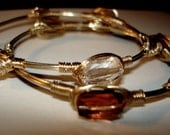 Eclectic Gold Bangles, Gold and Copper Crystals, Wirewrapped Bracelet