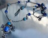 Gothic Cross Pendant, with Aqua Stone Tassel Drop Necklace, Cross Pendant Set, 30 & 22 Inch Lengths