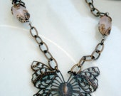 Bronze Chain Necklace, Pink Quartz Stones Wirewrapped, Butterfly Filigree Necklace