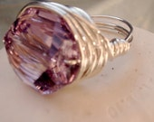Big Chunky Ring in Sterling Silver with Light Amethyst Crystal, Size 7