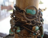 Turquoise Leather Wrap Bracelet, Swag Belt, Leather and Chain Hip Belt with Vintaj Bronze Metal & Natural Turquoise Stones