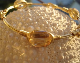 Gold Crystal Bangle, Gold on Gold, Wirewrapped Bangles