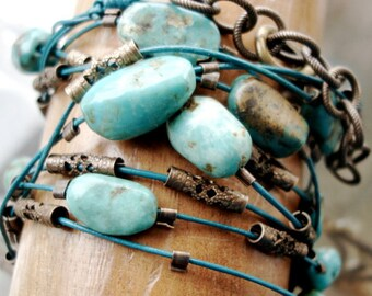 Turquoise Leather Wrap Bracelet  on Teal Leather with Bronze Filigree Bead Accents  4 Wrap Leather