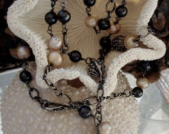 Black and Cream Pearl Necklace, Long Gunmetal Chain Necklace, Pearls for Her, 42 Inches