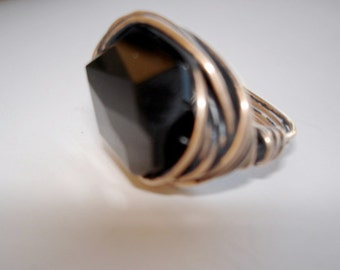 Chunky Crystal Ring, Bling Ring in Jet Black Wirewrapped with Oxidized Bronze Wire, Size 8