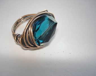 Chunky Big Ring, Teal Indicolite Swarovski Crystal, Wire Wrapped in Bronze, Oxidized Bronze Ring, Size 8