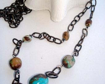 Turquoise Chain Necklace, Boulder Turquoise Wire Wrapped in Vintaj Bronze Chain, 34 Inch Length