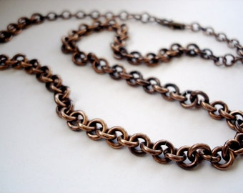 """Bronze Chain Necklace, Chunky Bronze Chain, Oxidized Bronze Chain, Rustic Chain Necklace - Handlinked Natural Bronze Rings, 22"""" Length"""