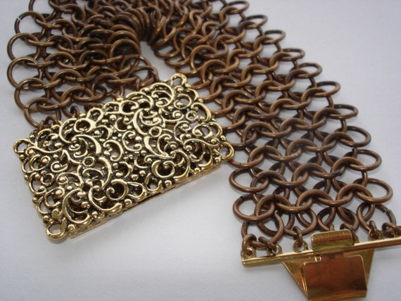 Bronze Cuff Bracelet /Chain Maille in Oxidized Bronze /Gold Euro Clasp /23 KT Gold Overlay /Rustic Contemporary Metal Style