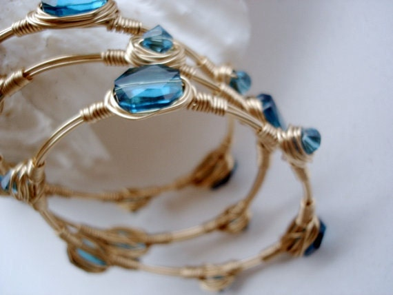 Gold Bangles, Stacking Bangles in Gold and Teal, Swarovski Indicolite Crystals, Three Bangle Set, Wirewrapped Crystal Bangles in Teal Blue