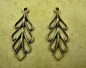 Filigree Leaf Pendant with Loop, Brass, 22mm. One Pair.  (R398)