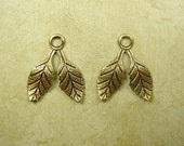 Small Double Leaves with a Loop in Oxidized Brass 17mm. Packet of 2.  (A134)