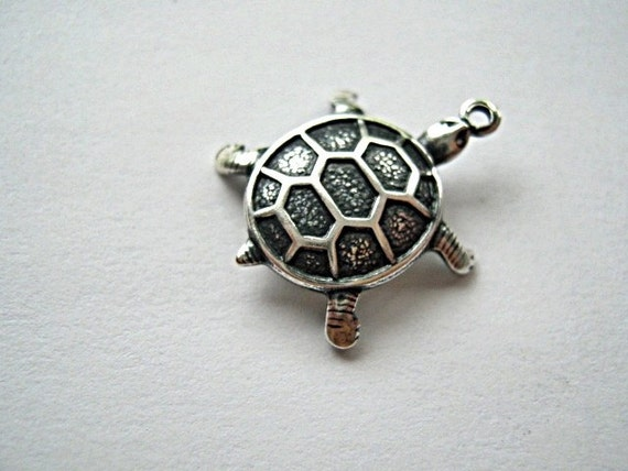 Trinity Brass Co. - Turtle Charm.  18mm,  Antique Silver.  Sold Individually.  (754)