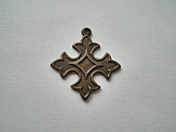 Trinity Brass Co. - Small Cross Charm,  Vintage Patina.  Sold Individually.  (F476)