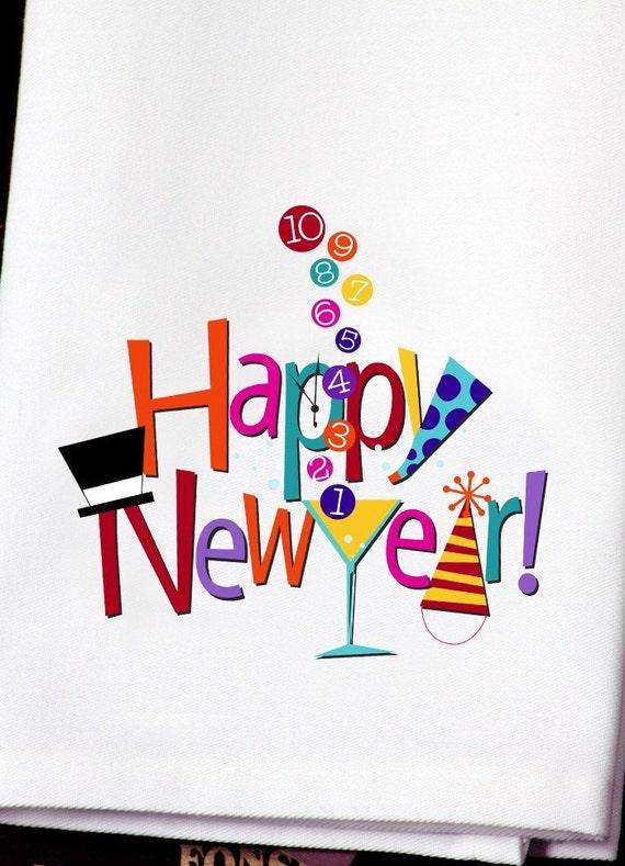 Happy New Year Dish Towel/Bar Towel-Bright