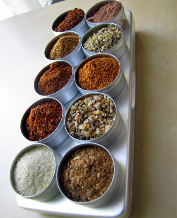 CLEARANCE (50% off) - Dry Spice Rubs for grilling and barbeque - 10 spice blends in aluminium box